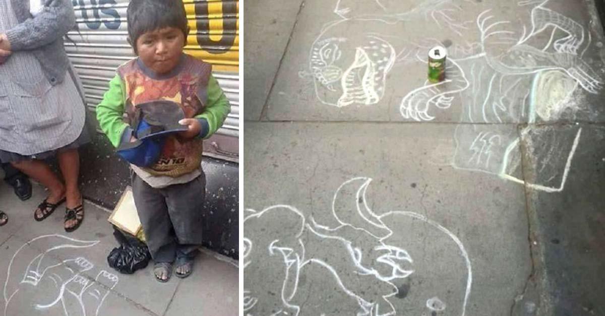 niño hace dibujos en la calle para ganarse la vida